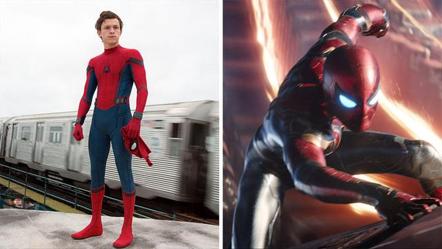 "Spider-Man Costume in ""Spider-Man"": Homecoming (left) and the Avengers: Infinite War."