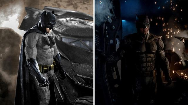 Batman's costume comes from Batman v. Superman: Dawn of Justice (left) and Justice League.
